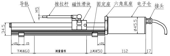 外置一体式磁致伸缩位移传感器尺寸